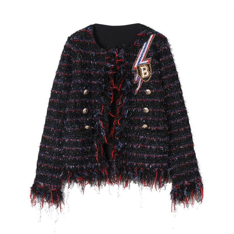 Manches Vêtements Dames Vintage Casual Paillettes Femmes Longues Piste Pardessus Manteau Lettre Hiver Plaid Designer Gland 2018 Veste À wnPqfTT