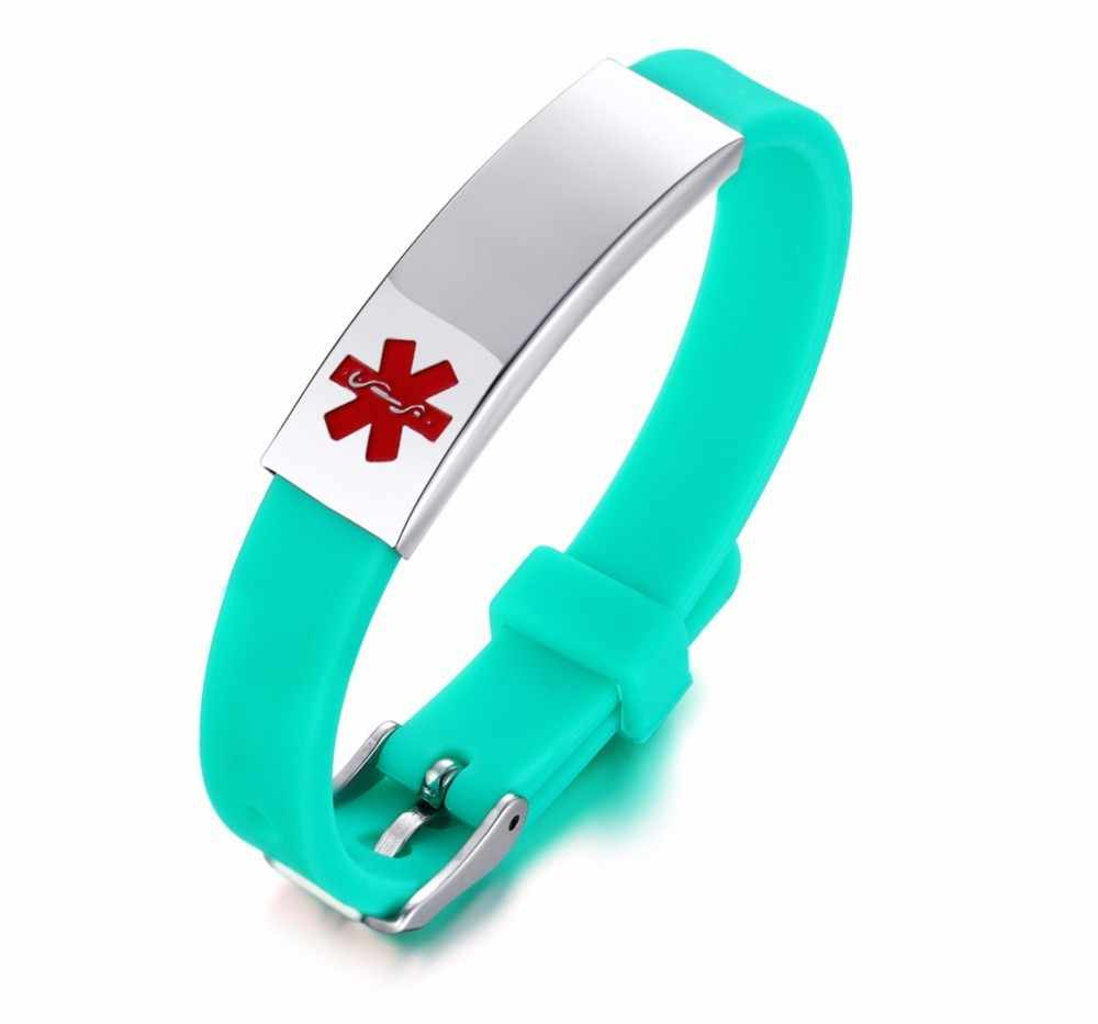Personalized Assorted Colors Medical Alert ID Bracelet for Kids and Adult Silicone WristBand Stainless Steel Tag Custom Engraved