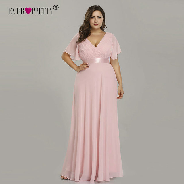 Plus Size Pink Prom Dresses Long Ever Pretty V-Neck Chiffon A-line Robe De Soiree 2019 Navy Blue Formal Party Gowns for Women 1