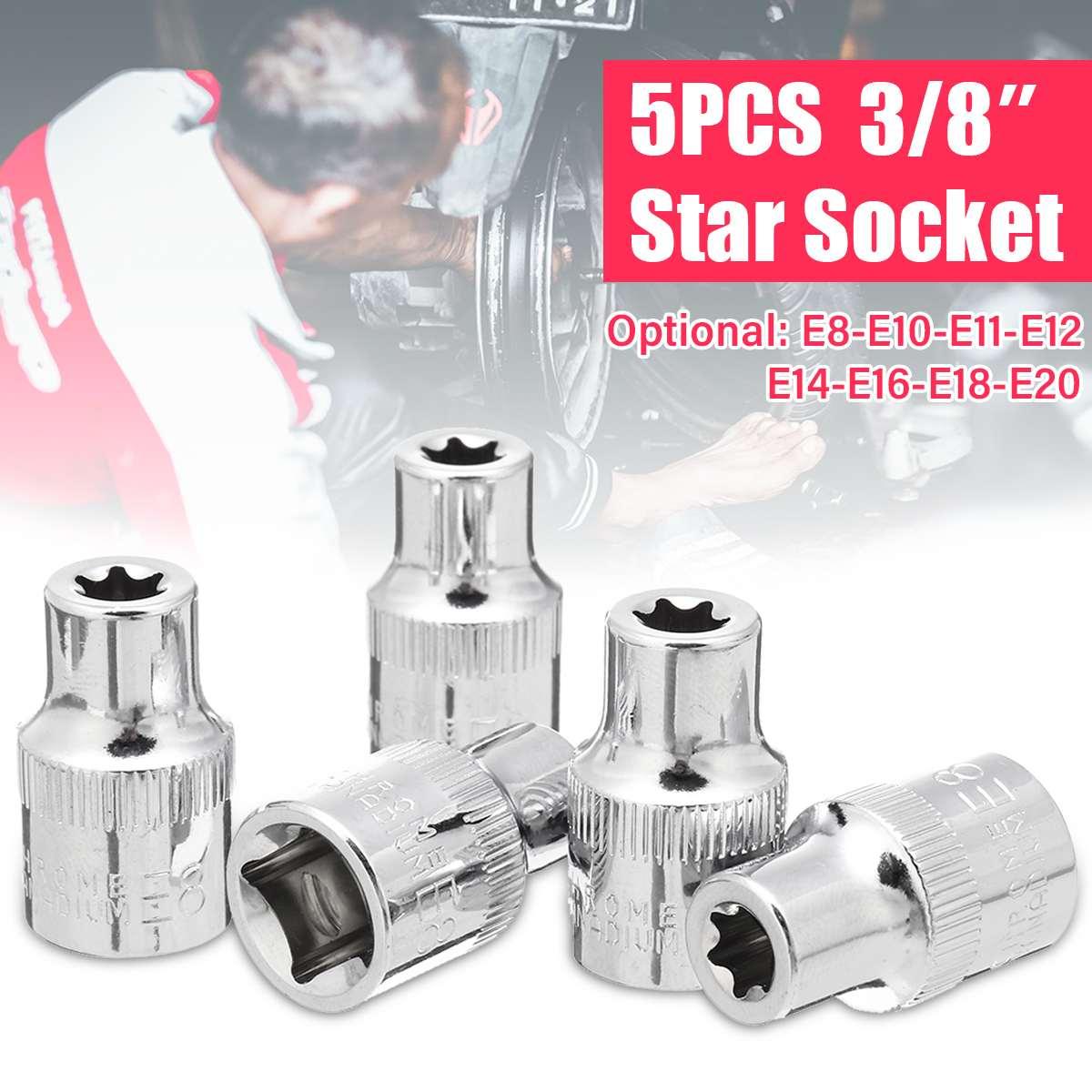 5PCS 3/8'' Torx Star Sockets Set E-shaped Casing Hexagon Wrench Head E8 E10 E11 E12 E14 E16 E18 E20 Metric Car Auto Repair Tools