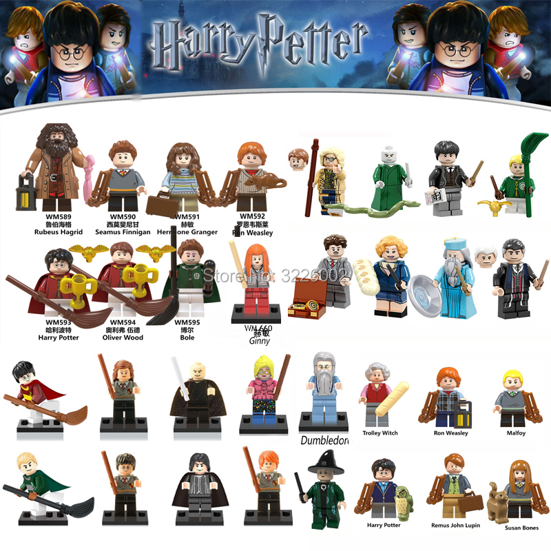 For legoing Harry Potter Action Figures Hermione Granger Ron Lord Voldemort Hot Sale Draco Malfoy Blocks Gift Toys for children