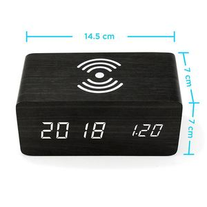 Image 5 - Wooden Alarm Clock With Qi Wireless Charging Pad Compatible With For Iphone Samsung Wood Led Digital Clock Sound Control Funct