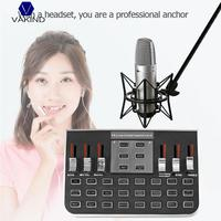 VAKIND F8 4 Modes Studio Audio Mixer Microphone Webcast Entertainment Streamer Live Sound Card for Phone Computer PC