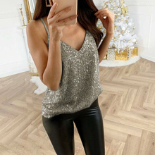 2019 Fashion Sexy V-Neck Sleeveless Sequin Tops Hot Summer Casual Strappy Vest Outwear Blouse Ladies Off Shoulder Party Shirts v neckline sequin blouse