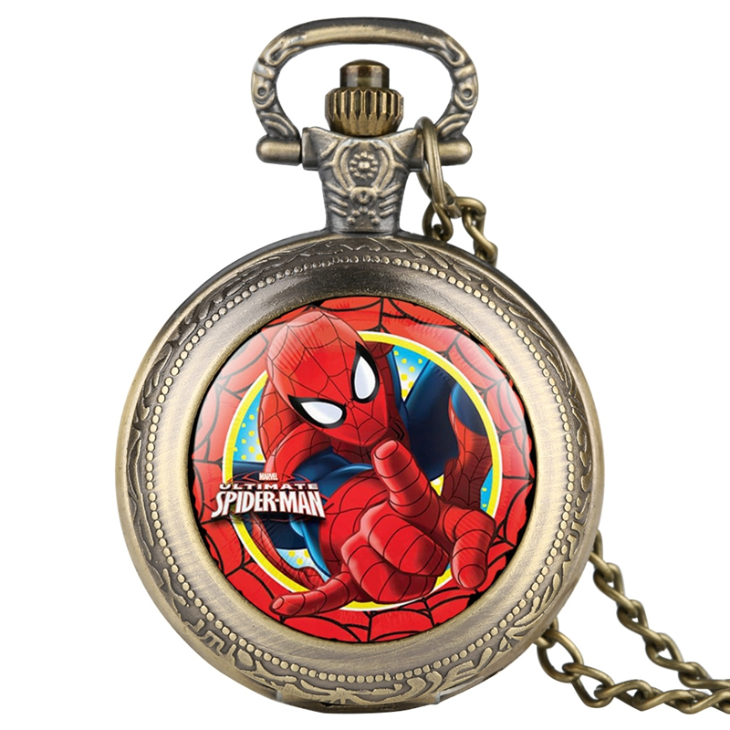 Fashion Red Ultimate Spider Man Retro Quartz Pocket Watch Necklace Pendant Jewelry Dress Gifts For Boys Girls Kids Children Fans
