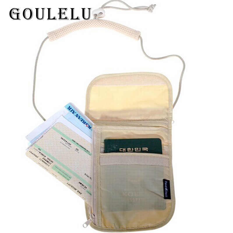 Passport cover travel check hanging on neck travel storage bag Credit wallet anti-theft security package
