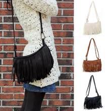 8c2a2844d Fashion Women PU Leather Tassel Shoulder Bag Female Zipper Messenger Bag  Fringe Crossbody Bags Purses(