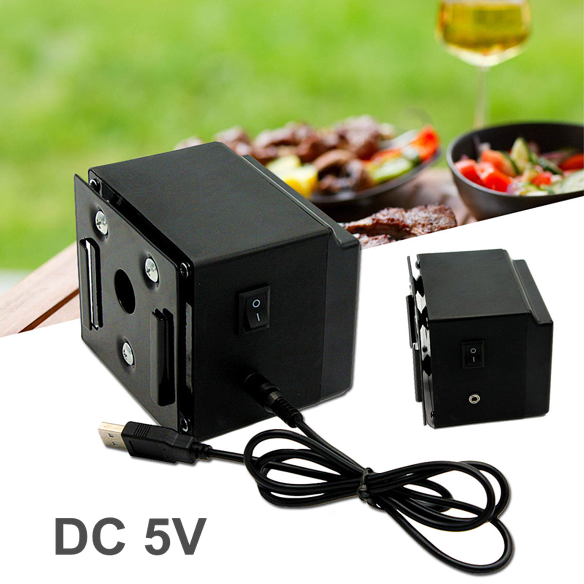 SODIAL Dc 5V Usb Bbq Spit Roast Rotisserie Motor Outdoor Camping Barbecue Accessories Kitchen Appliance Parts Rotisserie Parts