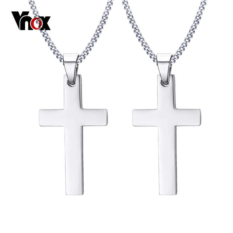 "Vnox Customized Engraving Couples Necklace Free Chain 24"" Silver Color Cross Pendant Necklace for Women Men Engagement Jewelry"