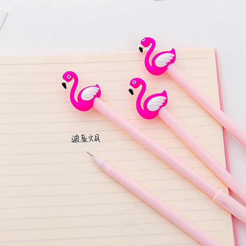 הכי חדש ורוד פלמינגו ג 'ל עט 0.38mm חמוד סיליקה ג' ל ראש עטים ניטרלי לכתיבה בנות מתנה קוריאנית ציוד מכתבים