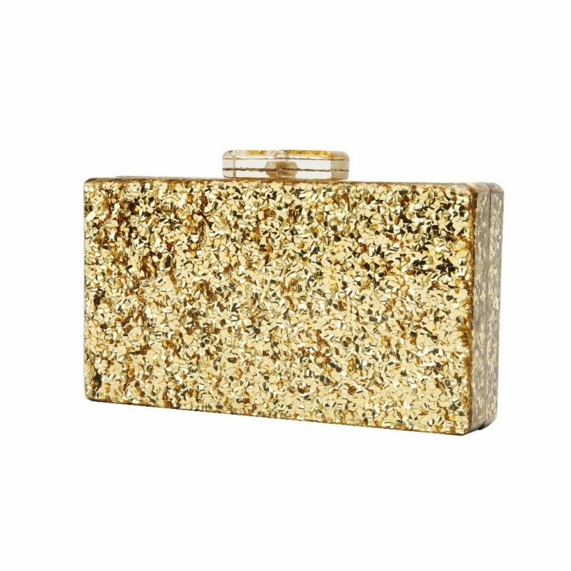 Flap-Box Clutches Glitter Evening-Bags Small-Shell Gold Women Pearl Banquet