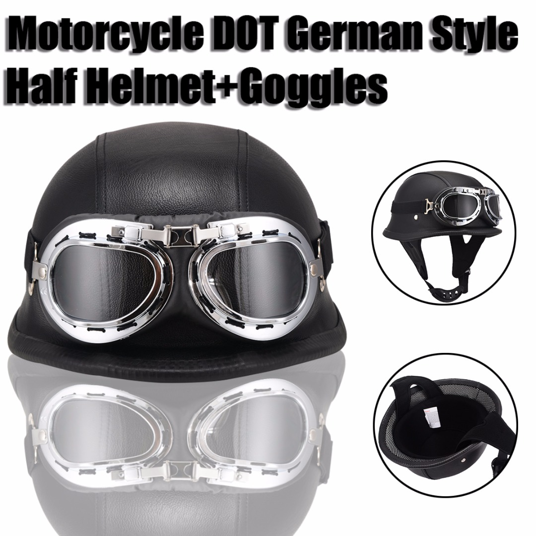 M L XL Size DOT German Style Motorcycle Half font b Helmet b font With Goggles