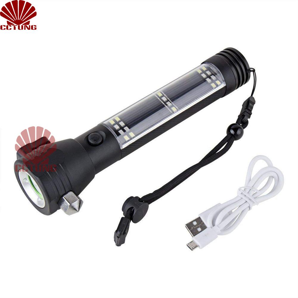Solar Power USB Rechargeable LED Flashlight with Outdoor Emergency Hammer Safe belt Cutter Compass Aid & Warning Sign Power Bank