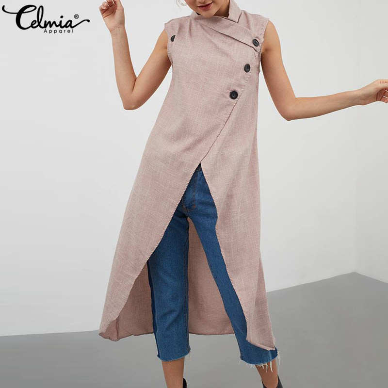 ce4b127c9fdd2bf Cellia 2019 летние женские длинные рубашки повседневные кардиганы без  рукавов Блузка асимметричный подол Туника свитеры с