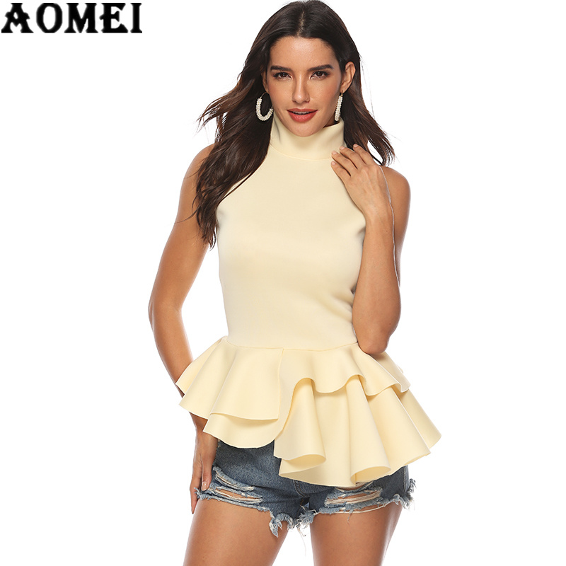 Women   Blouses     Shirts   Tank Tops Turtleneck Layers Ruffles Ladies Fashion Casual 2019 New Arrival Spring Summer Solid Tops Blusas