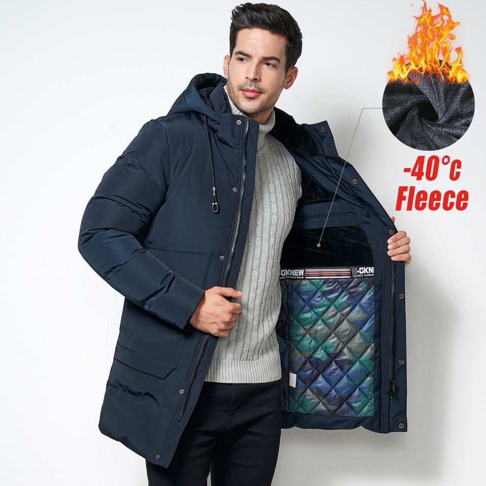 Windbreaker Men's 2019 Winter Long Thick Cotton Fleece Parka Jacket Coat Hooded Pockets Outwear Jacket Parka Male 5XL Plus Size