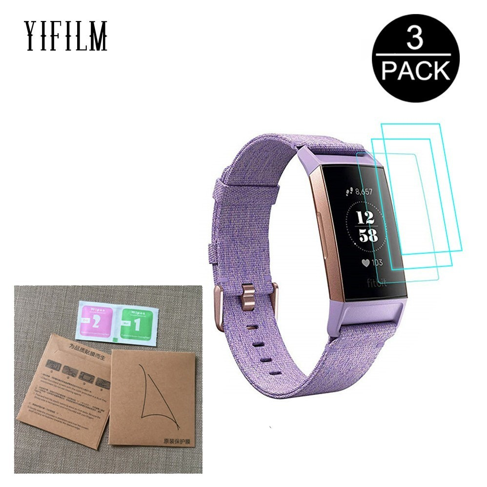 3Pack Silicone Tpu Clear Protective Film For Fitbit Charge 3 Charge3 Smart Wristband Anti-scratch Full Screen Protector Cover