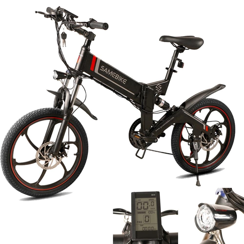 Samebike 20 48 ZANCHE Mini Bicicleta Elétrica Ciclomotor Bicicleta V Bicicleta Elétrica 350 W Motor 10Ah Inteligente Folding Bicicleta Elétrica navio livre