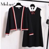 L 4XL Plus Size Women Two Piece Dress Spring Summer 2019 Elegant Long Sleeve Cardigan and Sleeveless Vest A Line Dresses Luxury