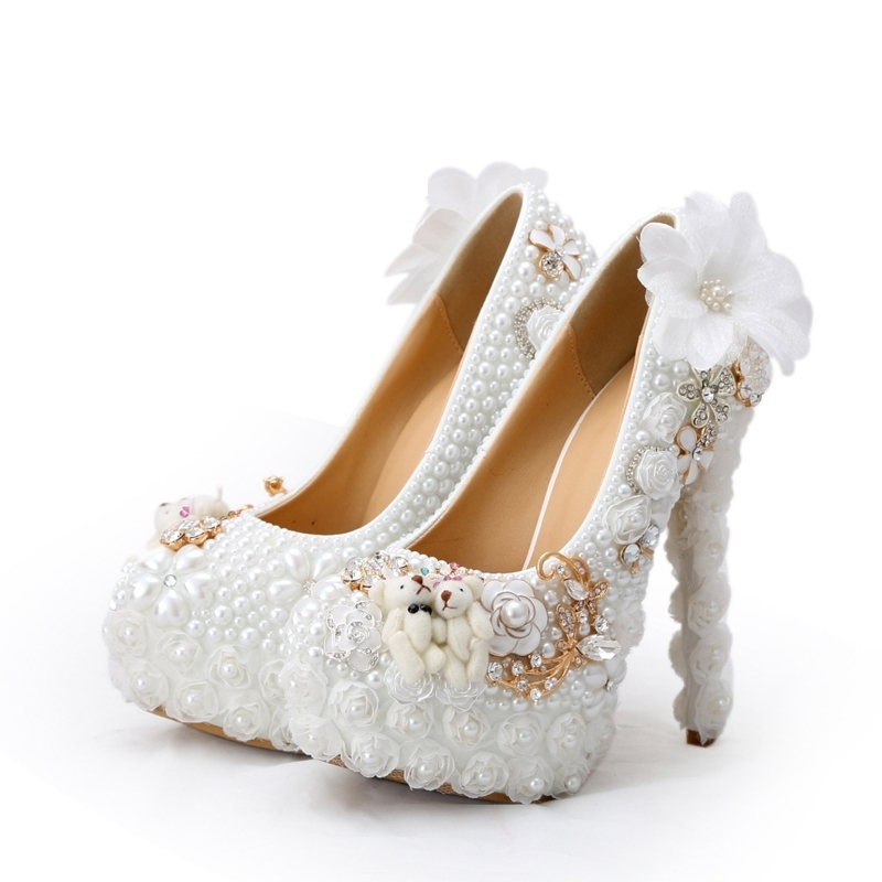 Wedding Shoes White Pearl High Heel Bridal Dress Shoes with Lace Appliques Party Prom Pumps Beautiful Platforms Lady Court ShoesWedding Shoes White Pearl High Heel Bridal Dress Shoes with Lace Appliques Party Prom Pumps Beautiful Platforms Lady Court Shoes