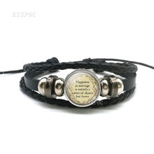 Jane Austen Life Quote Black Leather Bracelet , Pride and Prejudice Literary Jewelry Glass Cabochon Fashion Button