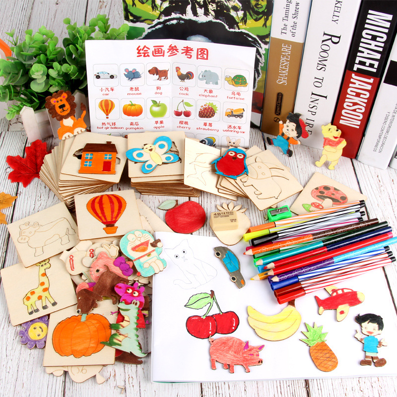 Young Children Graffiti Painting Template Primary School Junior High School Drawing Set Tools Boys And Girls Puzzle Wooden Toys