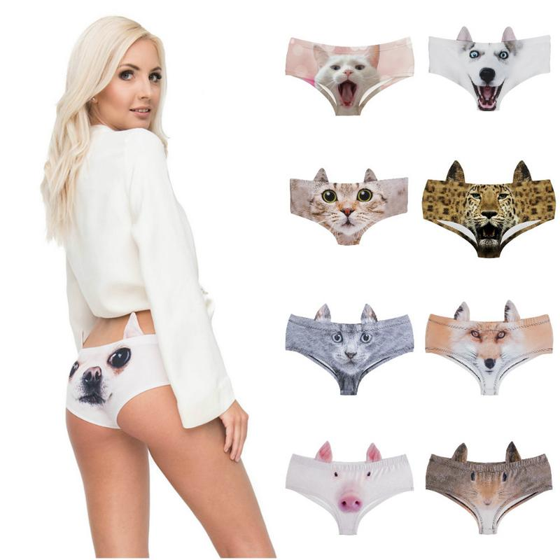 Women Triangle Shorts <font><b>Sexy</b></font> Underwear Personality <font><b>3D</b></font> Digital Printing <font><b>Cartoon</b></font> Milk Silk Cute Pet Ears Underwear For Couples Gift image