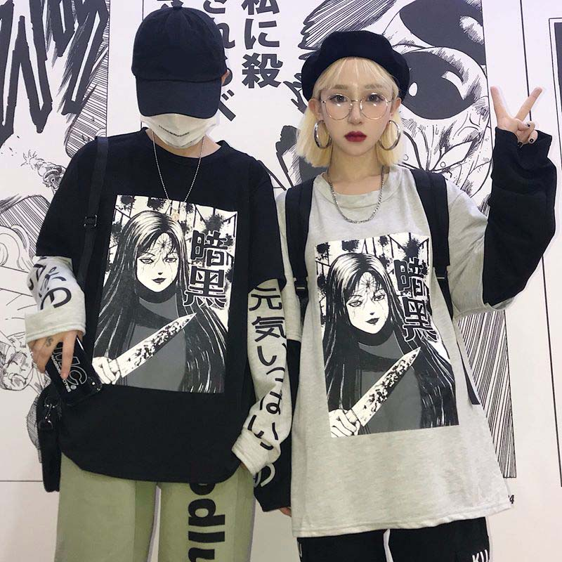 NiceMix Harajuku Sweatshirt Women Patchwork Unisex Pullovers Japanese Anime Print Comics Jumpers Fake 2 Pieces Woman Streetwear