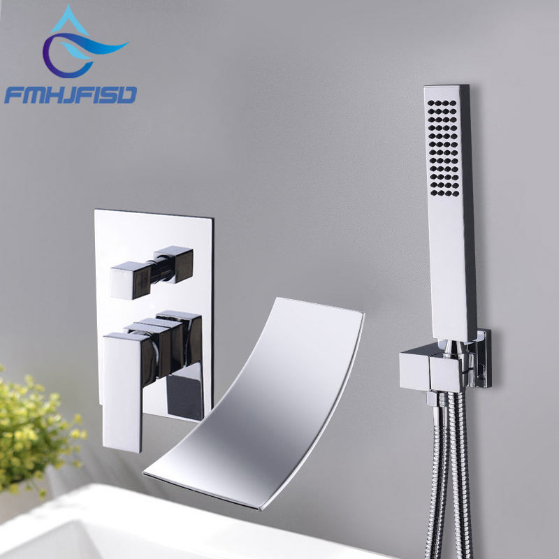 Bathroom Tub Faucet Waterfall Bathtub Shower Faucets Mixer Water Basin Faucets with Handshower