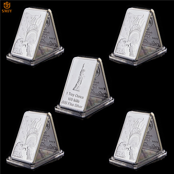 5Pcs USA 1 Troy Ounce 100 Mills.999 Fine Silver Coin Statue of Liberty Statue Free Eagle Token Collectible Medallion Gold Bar