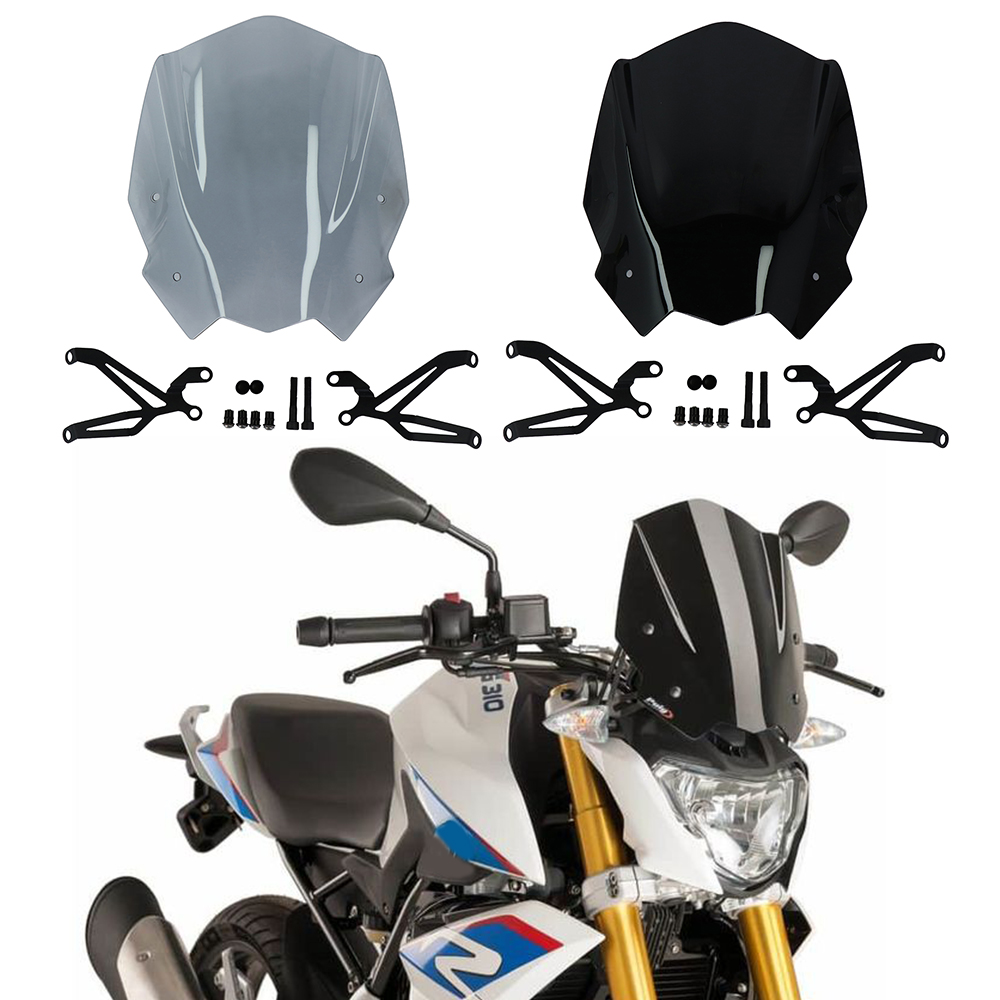 For BMW G310R 2017-On Motorcycle Windshield Windscreen with Mounting bracket High Quality ABS PlasticFor BMW G310R 2017-On Motorcycle Windshield Windscreen with Mounting bracket High Quality ABS Plastic