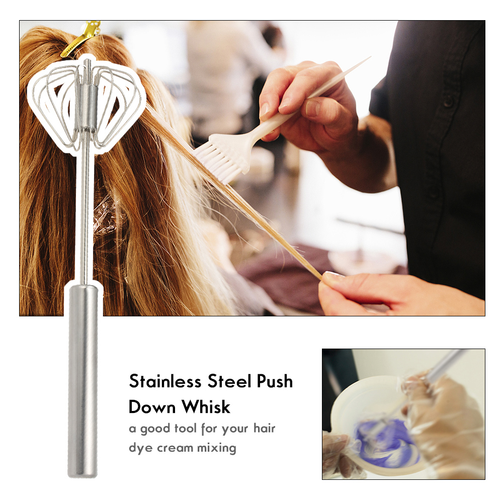 Stainless Steel Push Down Whisk Telescopic Stirrer Cream Mixer Salon Barber Hairdressing Hair Color Dye Mixing Tools