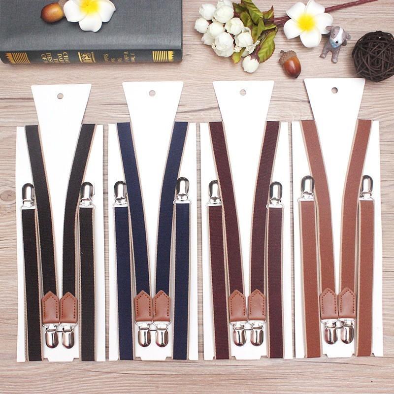 2cm Man's Split Suspenders Vintage Braces 4 Clips Braces Casual Suspensorios Adjustable Belt Strap