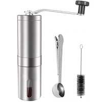 Manual Coffee Grinder Adjustable Conical Burr Brushed Stainless Steel Coffee Beans Manual Grinder Portable Travel And Handheld|Manual Coffee Grinders|   -