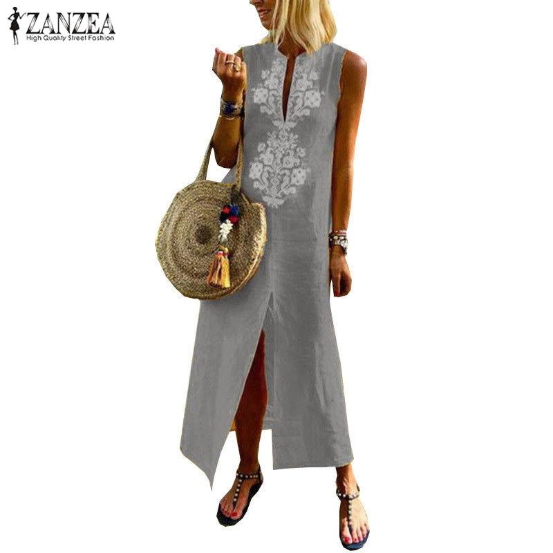 2dbf8dad662 ZANZEA Dress Women Cotton Linen Maxi Vestido Boho Print Vestidos Summer  Female Sleeveless Split Beach Sundress