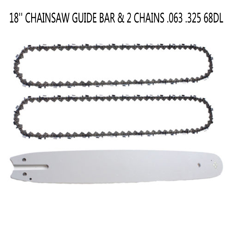 Chainsaw Guide Bar 18 + 2x Chain .063 .325 68DL For Stihl MS 250 251 Replacement PartsChainsaw Guide Bar 18 + 2x Chain .063 .325 68DL For Stihl MS 250 251 Replacement Parts