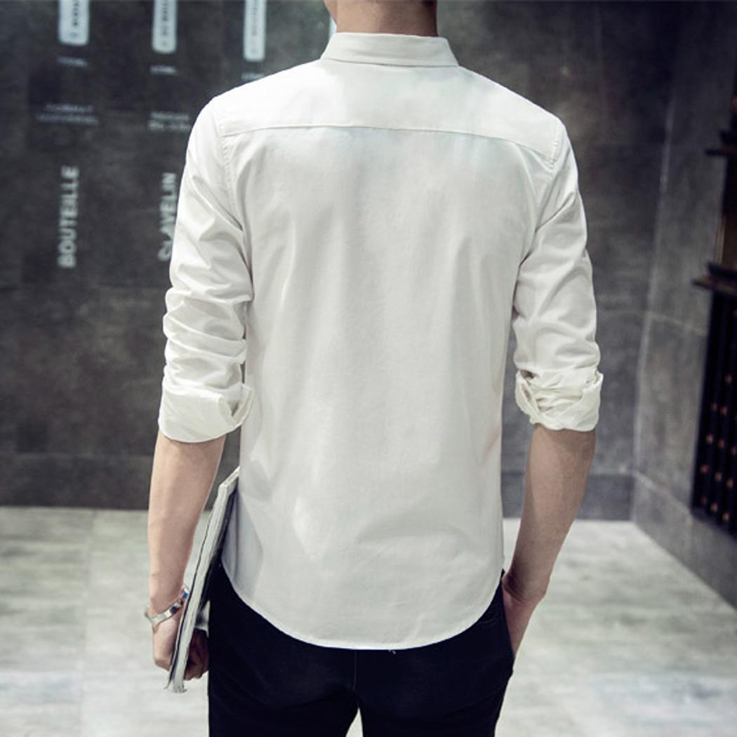 Men Fashion Casual Long Sleeve Turndown Printed Button Slim Shirt Top Collar Spring, Summer 6