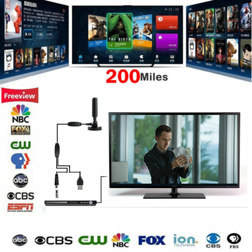 1x 200 Mile Range Home Indoor TV Antenna Digital HD Skywire Digital HDTV 1080P