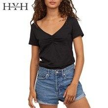 HYH HAOYIHUI 2019 Girl New Summer T-shirt  Black Deep V Collar Pleated Seam Short Sleeves