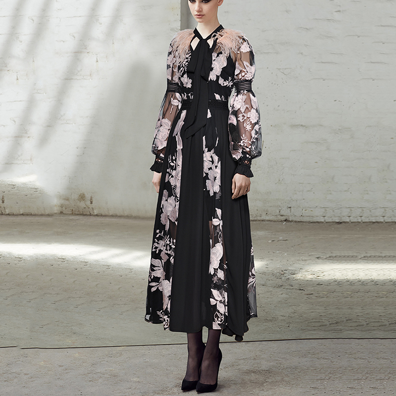 DEAT 2019 New Spring Fashion High Quality Feather Patchwork Lace Embroidery Chiffon Material Long Lantern Sleeves