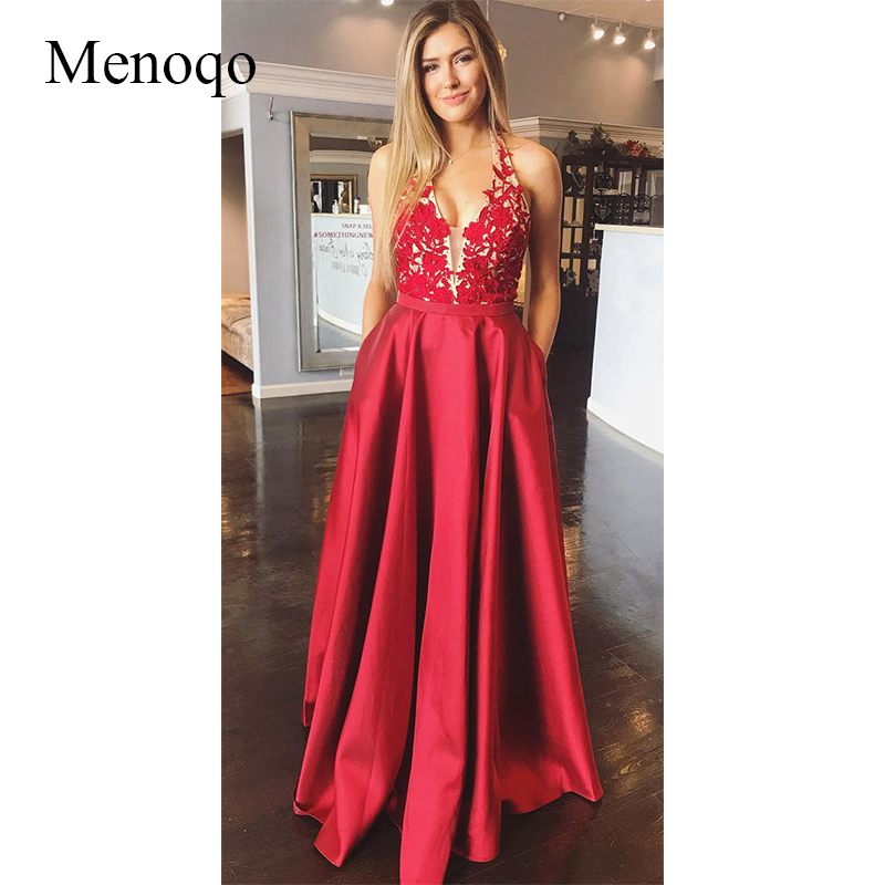 Menoqo Elegant   Evening     Dress   Halter Appliques Prom   Dress   2019 Sexy Backless   Evening   Party   Dresses   Vestido de noite