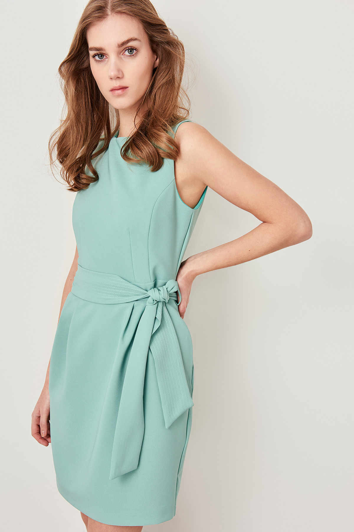 Trendyol מנטה חגור שמלת TWOSS19AA0063