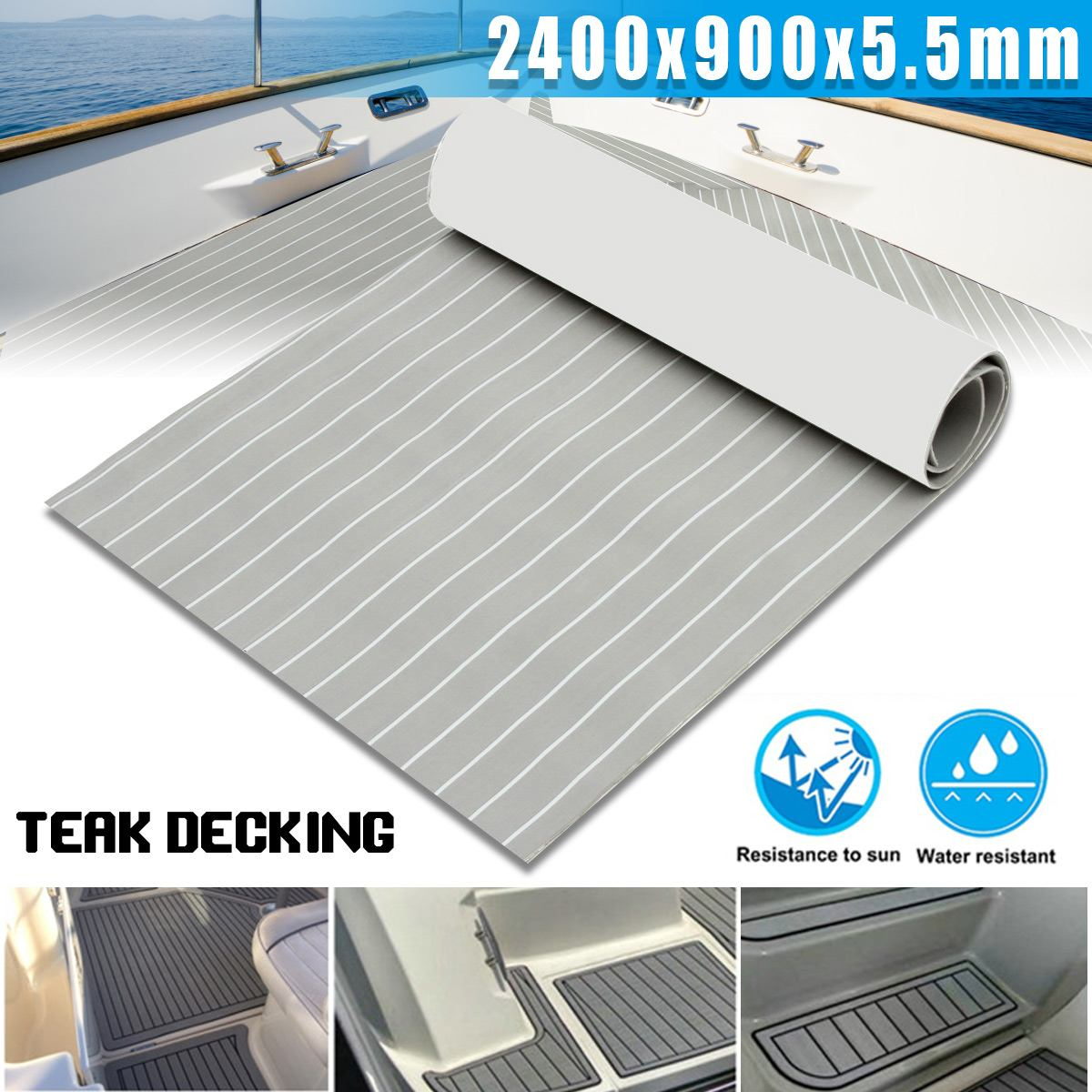 Self-Adhesive 900x2400x5.5mm Light Grey With White EVA Foam Teak Boat Flooring Sheet Yacht Synthetic Teak  Marine Decking Pad