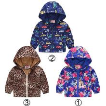 New Baby Boy Hooded Jacket Flower Car Print Trench Coat For