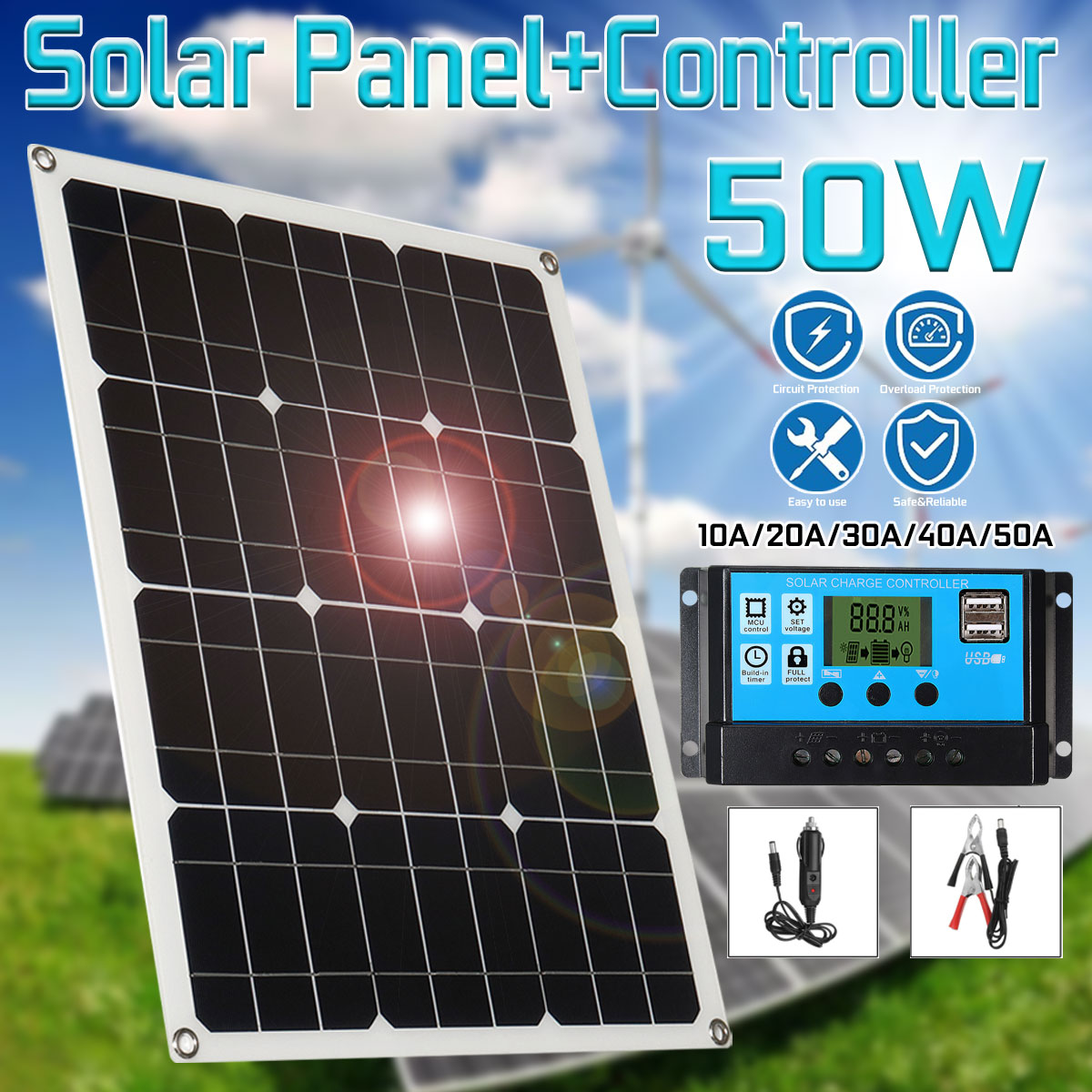 Solar Panel 18V 50W Solar Charger 2 USB Solar Cells Poly Solar Panel For Hause Boat 12V Car Battery MC4 Cable 10/20/30/40/50A