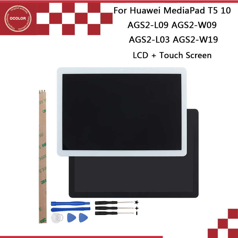 Ocolor For Huawei MediaPad T5 10 AGS2-L09 LCD Display And Touch Screen AGS2-W09 AGS2-L03 AGS2-W19 +Tools+Adhesive 10.1''