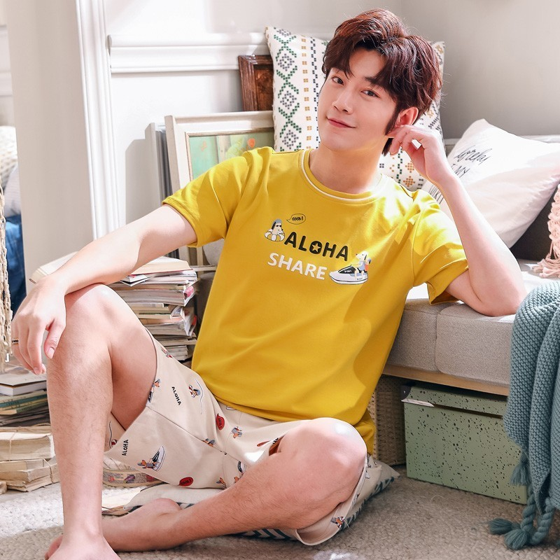 Summer Men's   Pajamas     Set   Cotton Striped Sleep Shirt & Shorts Suit Letter Sleepwear Homewear Pijama Casual Two Piece   Set   XXXL