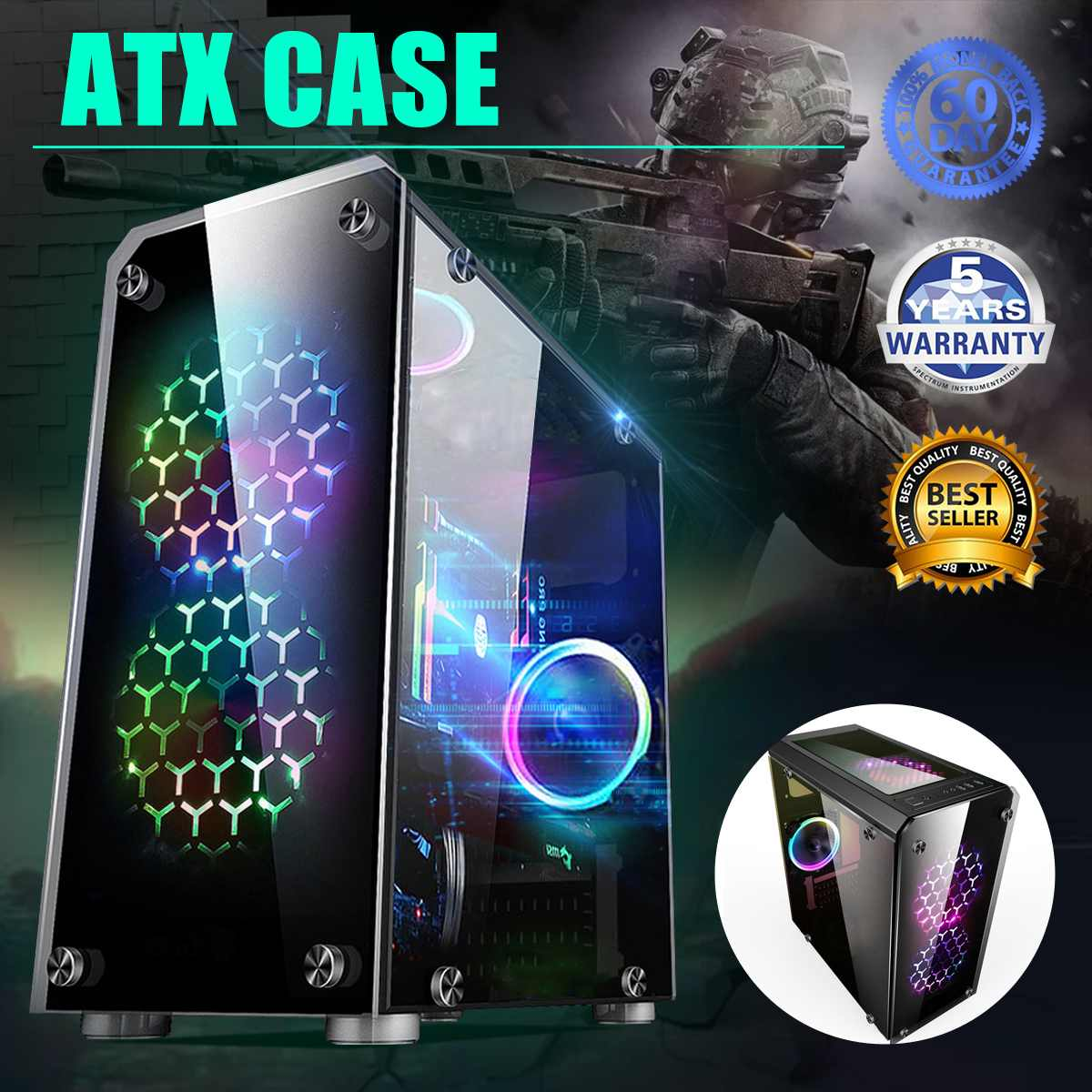 LEORY Mini ATX Gaming Computer PC Cases Towers Glass Panel Desktop Computer Mainframe Full-side Transparent Chassis