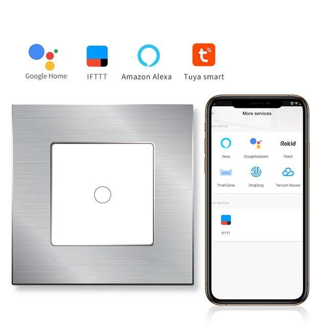 Bingoelece 1 Gang 1 Way Interruptor táctil WIFI marco de aluminio interruptor de pared de Panel de vidrio interruptor de automatización inteligente para el hogar teléfono