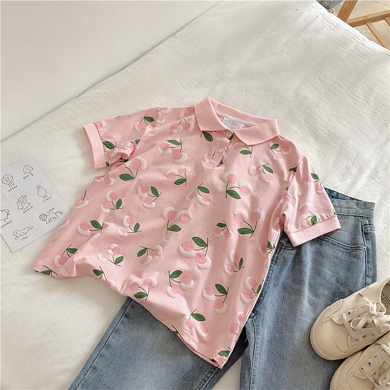Casual Pink Peach Pattern T-shirt Women Turn-down Collar Short Sleeve Lovely Pullover Tops Female Fashion Blue White Tee Shirt